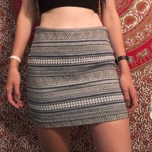 Blue & White Printed Pencil Skirt